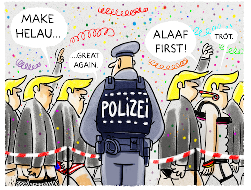 Cartoon: Narrenumzug 2017 (medium) by markus-grolik tagged asching,allaf,helau,rosenmontag,sicherheit,trump,faschingsdienstag,narren,närrinnen,mainz,köln,düsseldorf,asching,allaf,helau,rosenmontag,sicherheit,trump,faschingsdienstag,narren,närrinnen,mainz,köln,düsseldorf