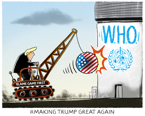 Cartoon: Scapegoating.... (medium) by markus-grolik tagged trump,corona,who,suendenbock,usa,krise,gesundheit,pandemie,trump,corona,who,suendenbock,usa,krise,gesundheit,pandemie