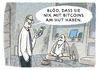 Cartoon: Kein Bargeld mehr ... (small) by markus-grolik tagged bitcoins,bitcoin,währung,geld,digital,virtuell,internet,versprechen,versprechungen,nerds,computer,technik,konsum,gier,armut,digitale,elite,abgehängt,sozialfall,cartoon,grolik