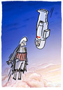 Cartoon: Stratosphärische  Begegnung.... (small) by markus-grolik tagged begegnung,rekord,fallhöhe,sprung,himmel,paradies,jungfrauen,terror,terrorist,sprengstoffattentäter,in,die,luft,jagen,bumm,dnt,taliban,redbull,verleiht,flügel,30000,meter,dünne,erde,gott,allah,westen,werbung,marketing,softdrinks,sponsoringkapitalismus,cart
