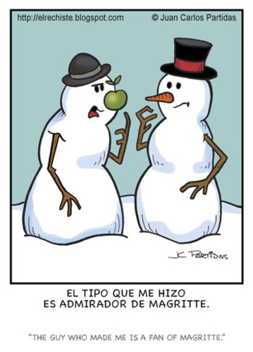 Cartoon: Fan (medium) by Juan Carlos Partidas tagged snow,man,magritte,artist,fan,apple,admirador,pintor,artista,hombre,nieve,manzana,navidad,invierno,winter,christmas