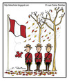 Cartoon: Fall has arrived (small) by Juan Carlos Partidas tagged fall,autumn,season,leaf,leaves,mounted,police,mounty,canada,maple,flag