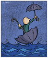 Cartoon: Floods (small) by Juan Carlos Partidas tagged flood,floods,rain,storm,water,waters,umbrella,float,floating,flooding,floodings
