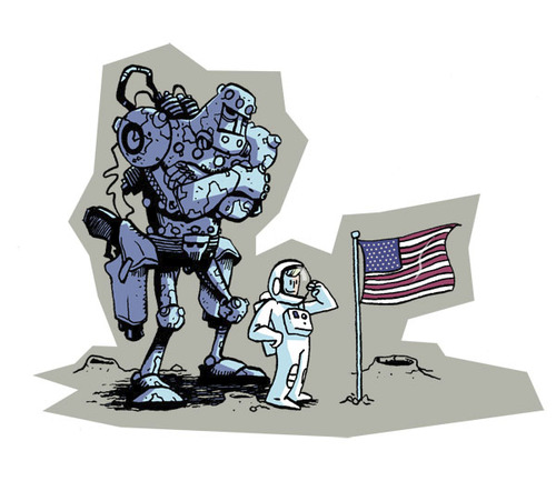 Cartoon: We have a problem (medium) by Ivan Retamas tagged robots,space