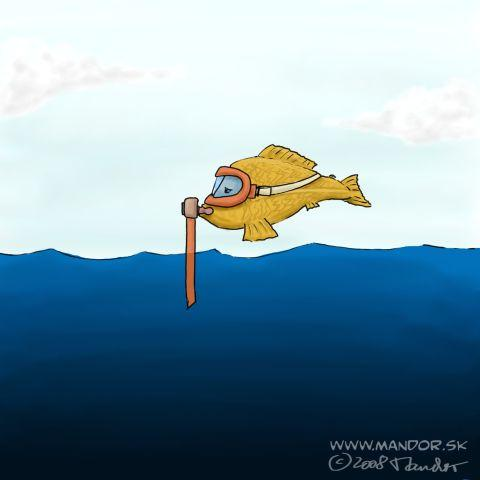 Cartoon: Diving (medium) by Mandor tagged fish,diver,diving