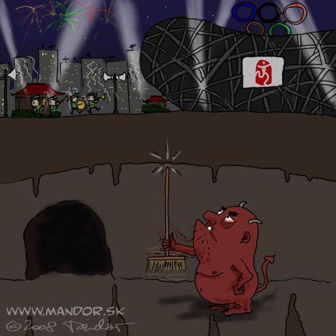 Cartoon: Earthquake in China (medium) by Mandor tagged olympics,china,earthquake,devil