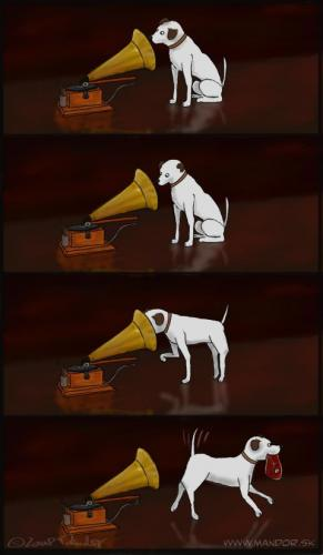Cartoon: His masters voice? (medium) by Mandor tagged his,masters,voice,steak