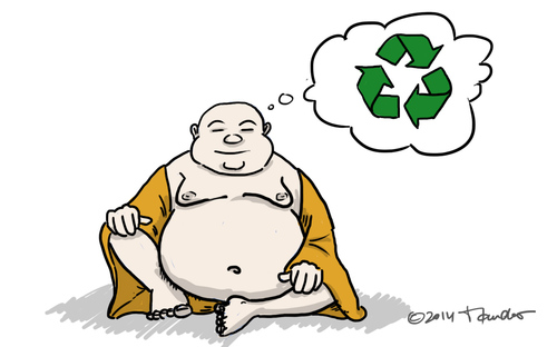 Cartoon: Inventing reincarnation (medium) by Mandor tagged buddha,inventing,reincarnation,recycle,recyclation