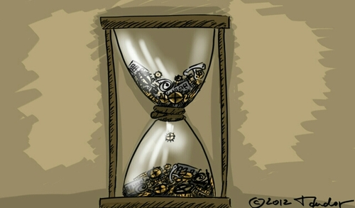 Cartoon: Recycle. Tempus fugit. (medium) by Mandor tagged clockwork,recyclation