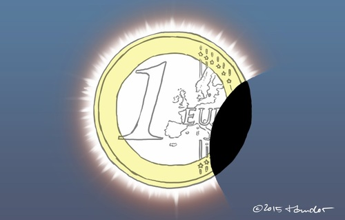 Cartoon: The eclipse of Euro (medium) by Mandor tagged greece,eclipse,euro
