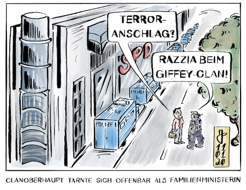 Cartoon: Razzia beim Giffey-Clan (medium) by Justen tagged spd,giffey,korruption,unterschlagung,doktortitel,plagiat,spd,giffey,korruption,unterschlagung,doktortitel,plagiat