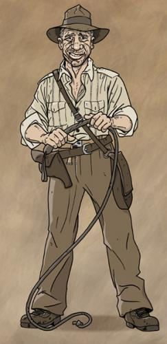 Cartoon: Indy is back (medium) by Lemmy Danger tagged indiana,jones,indy,whip,hat,harrison,ford