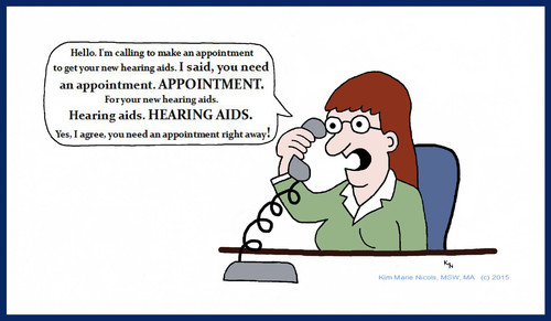 Cartoon: Appointment for Hearing Aids (medium) by Hearing Care Humor tagged hearingloss,hardofhearing,telephone,receptionist,audiologist,hearingaids