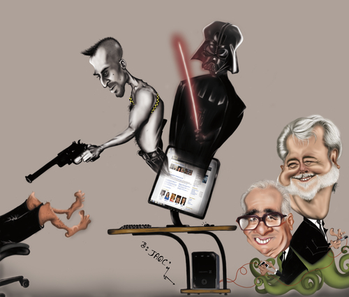 Cartoon: Lo que vemos en la web... (medium) by jaime ortega tagged taxi,driver,darth,vader,martin,scorcese,george,lucas