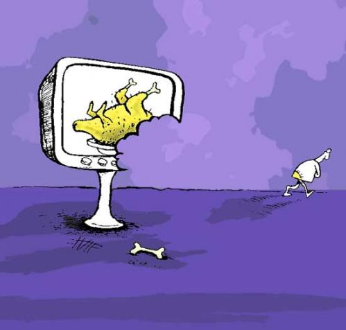 Cartoon: Sorry! i was so hungry. (medium) by Mohsen Zarifian tagged food,chicken,television,hungry,poverty