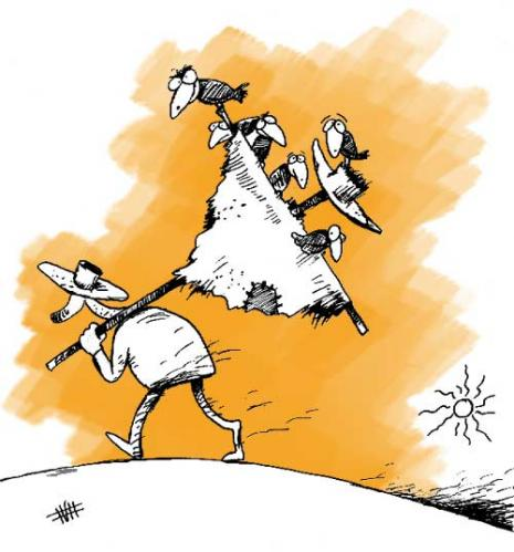 Cartoon: We cant leave you! (medium) by Mohsen Zarifian tagged crow,scarecrow,farmer,walking