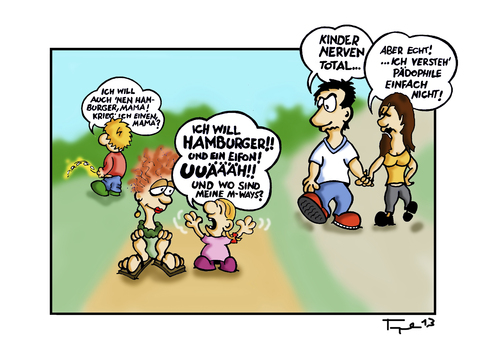 Cartoon: Unsere Kinder. (medium) by Marcus Trepesch tagged cartoon,funnies,life,children