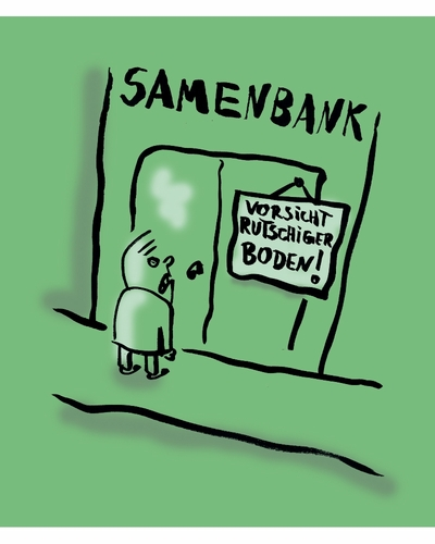 Cartoon: Rutschiger Boden! (medium) by Ludwig tagged samenbank,samenspende,sperm,bank,donation,slippery,floor