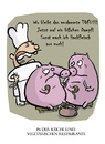 Cartoon: Vegetarische Tierquäler (small) by Ludwig tagged kochen,restaurant,essen,vegetarisch,fleisch,schwein,gourmet,fleischerei,kitchen,meal,vegetarien,pig
