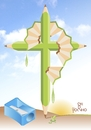 Cartoon: disappoint (small) by Tonho tagged disappoint,cross,ecology,pencil,crucify