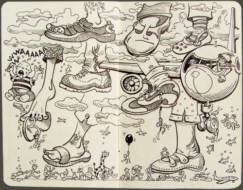 Cartoon: Airport art (medium) by rudat tagged airplane,travel,moleskine,rudat