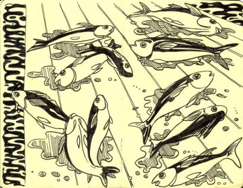Cartoon: Fish out of water (medium) by rudat tagged moleskine,sketchbook,fish,water