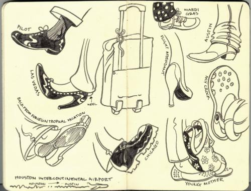 Cartoon: Flying Shoes (medium) by rudat tagged moleskine,sketchbook,travel,airplane,feet