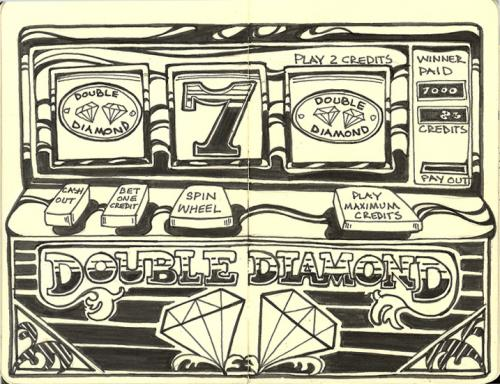 Cartoon: Slot Machine (medium) by rudat tagged moleskine,gambling,slots