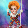 Cartoon: Miley Cyrus (small) by funny-celebs tagged miley,cyrus,singer,actress,songwriter,hannah,montana,bangerz,wrecking,ball,tongue,clown
