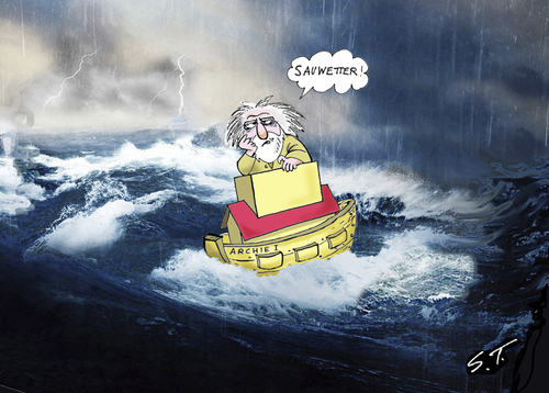 Cartoon: Regentief Noah (medium) by Simpleton tagged sintflut,noah