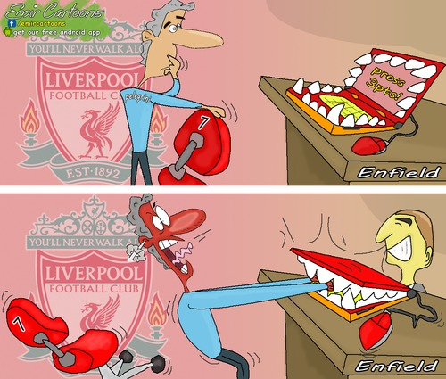 Cartoon: Liverpool runs over Manchester C (medium) by emir cartoons tagged football,cartoons,emir,city,manchester,over,runs,liverpool