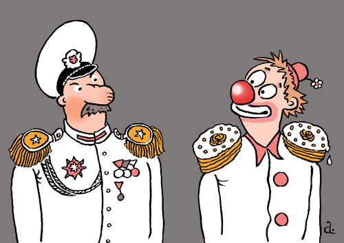 Cartoon: Epaulets and cakes (medium) by Vasiliy tagged politics,army,general,epaulets,clown,cake,joke,war,peace,title,recognition,reward,excellence,officer,uniform,smile