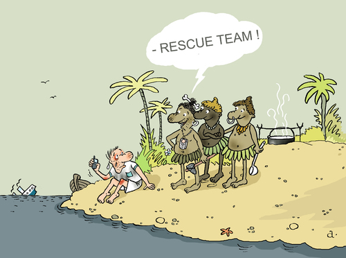 Cartoon: Rescue service (medium) by Vasiliy tagged rescuer,rescue,service,team,shipwreck,island,ocean,sea,cruise,vacation,tourism,travel,adventure,native,lunch,help,phone,call,mobile,911,liner,boat,ship,cannibal,misfortune