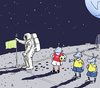 Cartoon: Corner flag (small) by Vasiliy tagged astronaut,establishment,installation,mounting,setting,corner,flag,moon,alien,extraterrestrial,planet,cosmos,space,universe,soccer,sport,football,ball,landing,mission,field,player,cosmonaut,banner,game