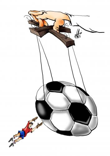 Cartoon: without words (medium) by Nikola Otas tagged football