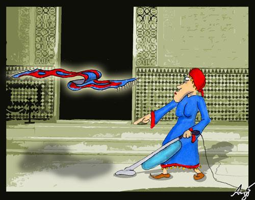 Cartoon: Flying Carpet (medium) by Anjo tagged flying,carpet,teppich,fliegender,putzfrau,cleaning,woman,hoover,staubsauger