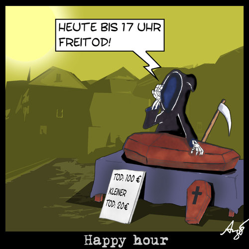 Cartoon: Happy Hour (medium) by Anjo tagged hour,happy,freitod,tod