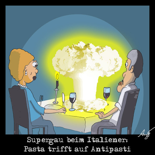 Cartoon: Supergau beim Italiener (medium) by Anjo tagged antipasti,pasta,italiener,gau,supergau