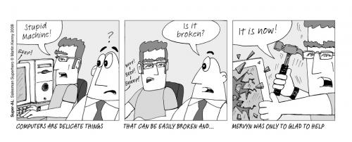 Cartoon: PC Problems (medium) by Super-AL tagged pc,mac,apple,computer,office,angry,broke,broken