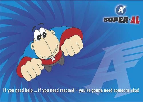 Cartoon: To the rescue (medium) by Super-AL tagged super,hero,flying
