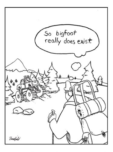 Cartoon: bigfoot (medium) by creative jones tagged hiker,truck,monster,bogfoot,yeti
