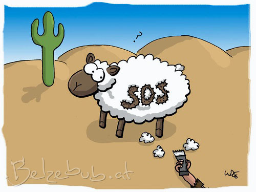 Cartoon: SOS Schaf (medium) by Belzebub tagged sheep,sos,schaf,wüste,desert,rasierer,sinnfrei,razor,shaver