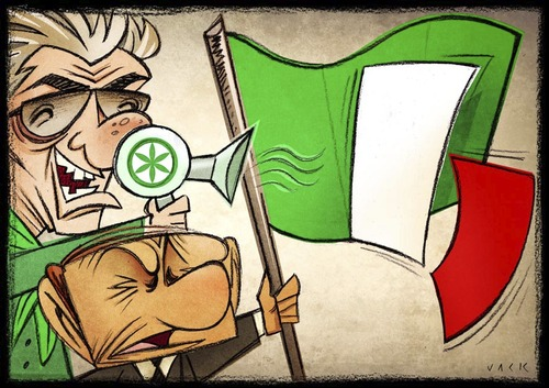 Cartoon: brothers Italy (medium) by Giacomo tagged biancvo,green,nord,lega,flag,bossi,berlusconi,italy,brothers,cardelli,giascomo,political,phon,red