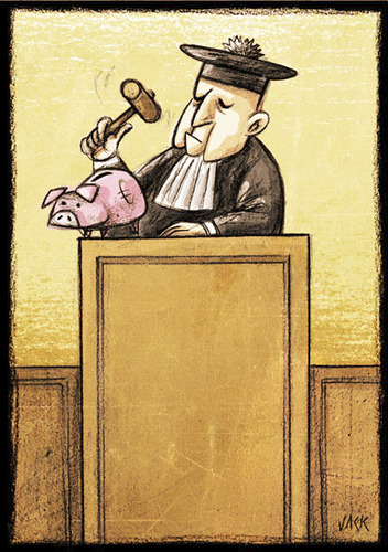 Cartoon: crisis (medium) by Giacomo tagged crisis,economy,judge,justice,money,box,pork,giacomo,cardelli,jack,lombrio