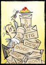 Cartoon: food labels (small) by Giacomo tagged etichette,del,cibo,scatolette,ogm,spaghetti,fame,italiano,giacomo,cardelli,lombrio,jack