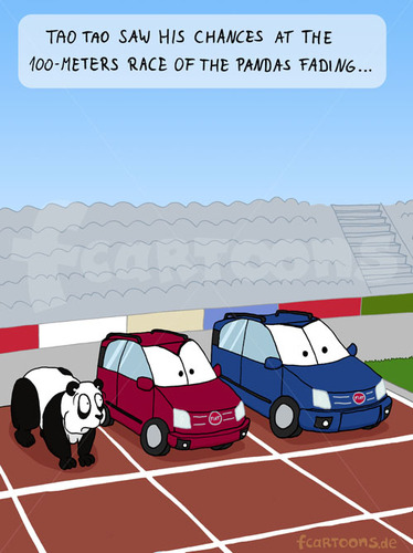 Cartoon: 100meters final (medium) by fcartoons tagged 100,meters,final,metres,bear,panda,fiat,car,auto,stadion,stadium,athletics,tartan,lanes,tao,cartoon