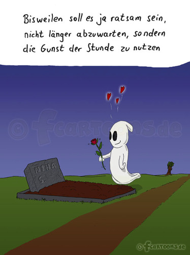 Cartoon: Geistesliebe (medium) by fcartoons tagged geist,gespenst,ghost,rose,love,lieben,liebe,grab,nacht,mond,herzen,cartoon,comic,grabstein,fcartoons