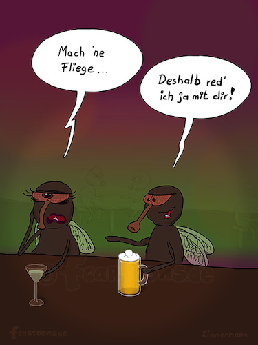 Cartoon: Mach ne Fliege (medium) by fcartoons tagged anmachen,baggern,bar,bier,cartoon,dark,fly,night,pub,pun,cocktail,dunkel,fliege,flirten,kneipe,lustig,theke,trinken