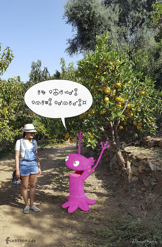 Cartoon: the little alien - is excited (medium) by fcartoons tagged the,little,alien,baum,begeistert,cartoon,foto,zitrone,excited,lemon,photo,pink,tree