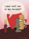 Cartoon: Herzblatt (small) by fcartoons tagged herzblatt,rotkäppchen,wolf,moderator,show,rosa,pink,little,red,riding,hood,wolve